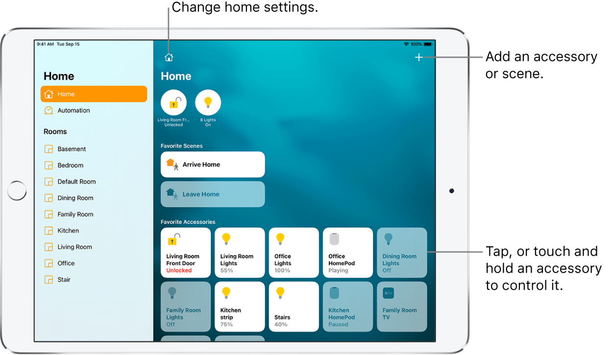 The Home app with the sidebar on the left, showing Home and Automation tabs near the top. Rooms within the home appear below. To the right, at the top are Homes, and the Home Settings button and Add button. Two status buttons appear near the top—one for the front door lock and another for 8 lights, that are switched on. Below that are scenes and accessories that have been marked as favorites.