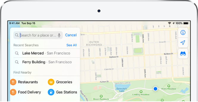 Categories for four nearby services appear on the search card on the left side of the screen. The categories are Restaurants, Groceries, Food Delivery, and Gas Stations.
