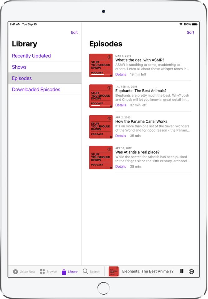 The Library tab showing recently updated podcasts.