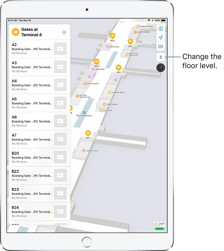An indoor map of an airport terminal. The map shows businesses and boarding gates. On the left side of the screen, a card identifies gates at Terminal 4.