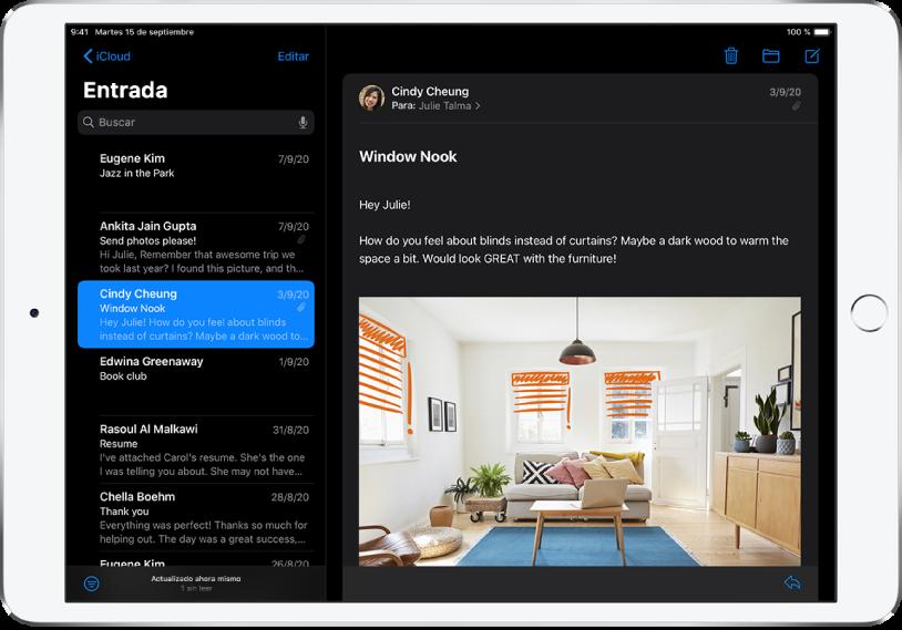 La app Mail en el modo oscuro