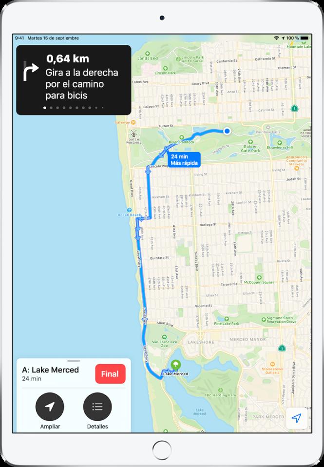 Mapa de resumen con las indicaciones para ir en bici entre dos parques de San Francisco.