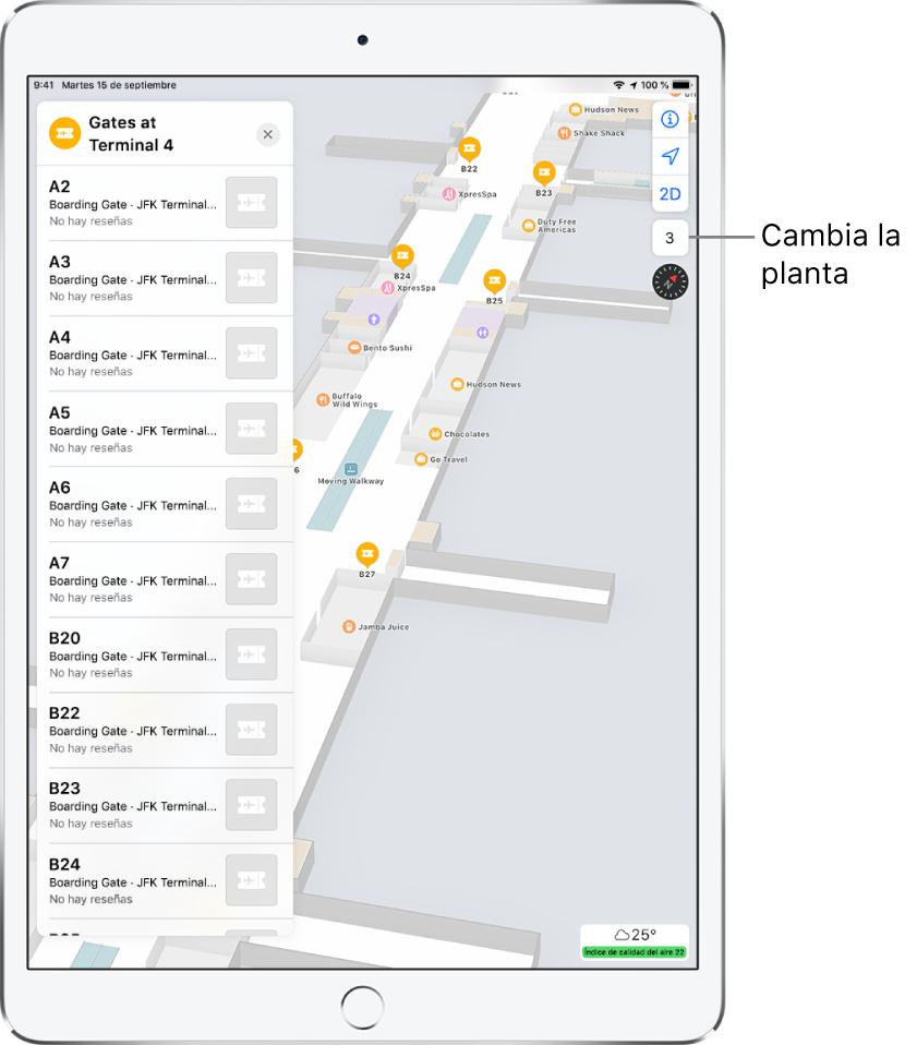 Un mapa del interior de la terminal de un aeropuerto. El mapa muestra los comercios y las puertas de embarque. En la parte izquierda de la pantalla, una tarjeta identifica las puertas de la Terminal 4.