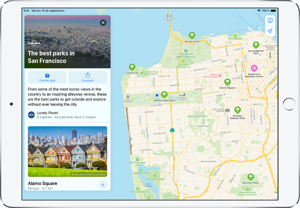 Guía de los parques de San Francisco en la parte izquierda del mapa de una ciudad.