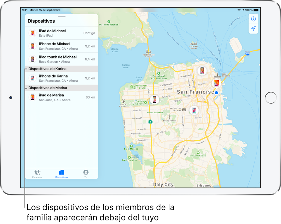 App Buscar abierta en la pestaña Dispositivos. Los dispositivos de Manuel están en la parte superior de la lista. Debajo está el iPhone de Carmen y el iPad de Marisa. Sus ubicaciones se muestran en un mapa de San Francisco.