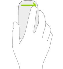 Una ilustración que muestra el gesto del ratón para abrir la visualización Hoy.