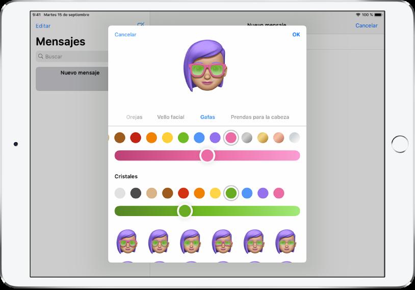La pantalla para crear un Memoji en la app Mensajes, donde podrás elegir unas gafas.