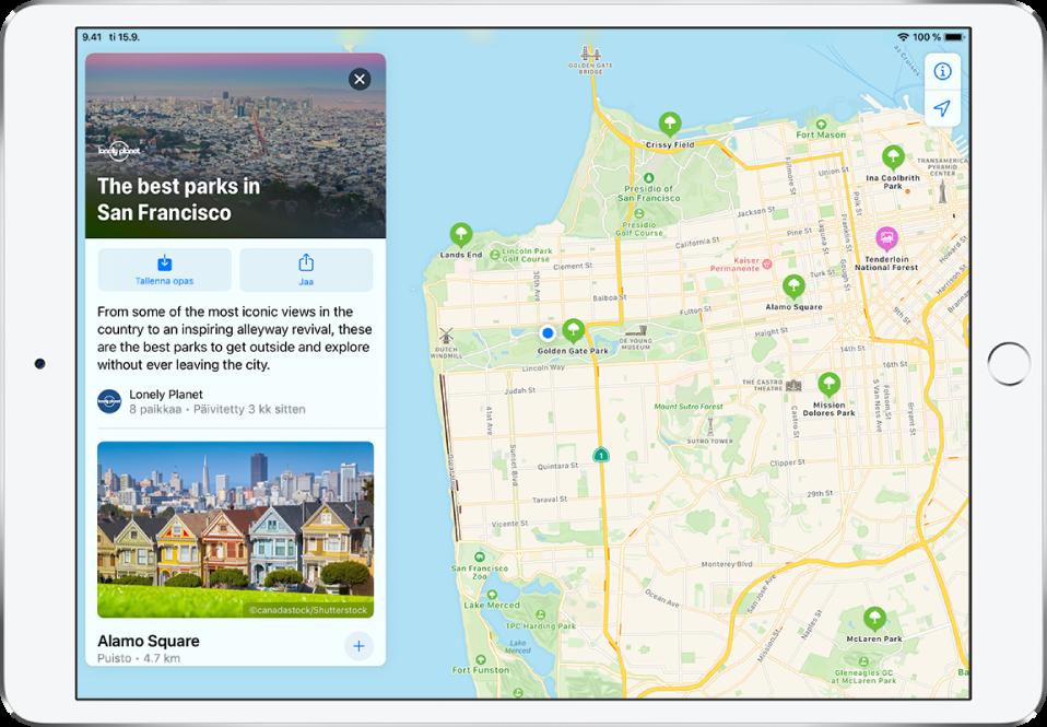San Franciscon puistoja esittelevä opas kaupungin kartan vasemmalla puolella.