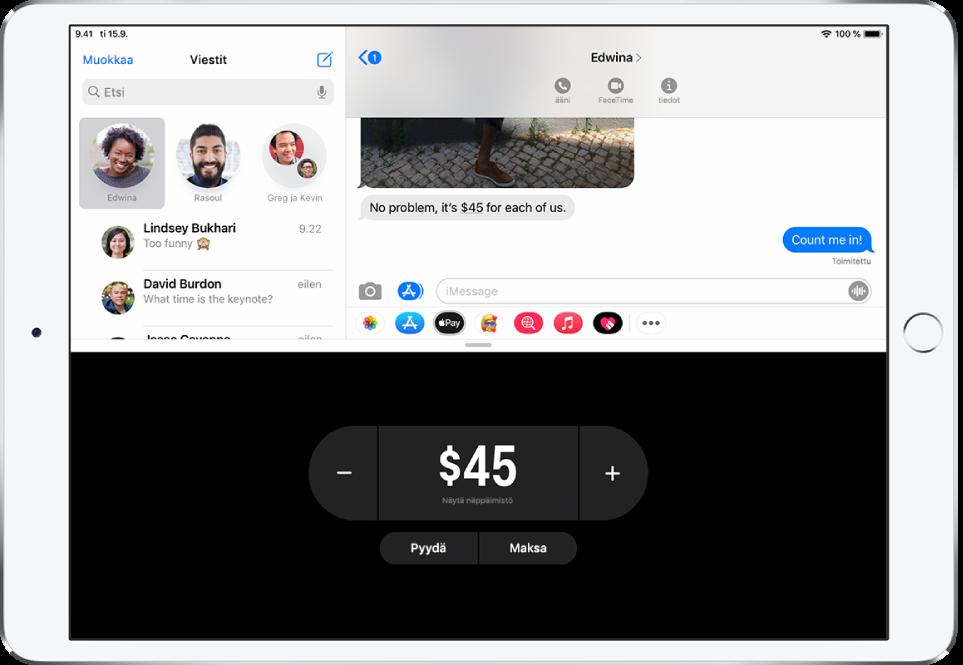 iMessage-keskustelu, jonka alaosassa on avoin ApplePay -appi.