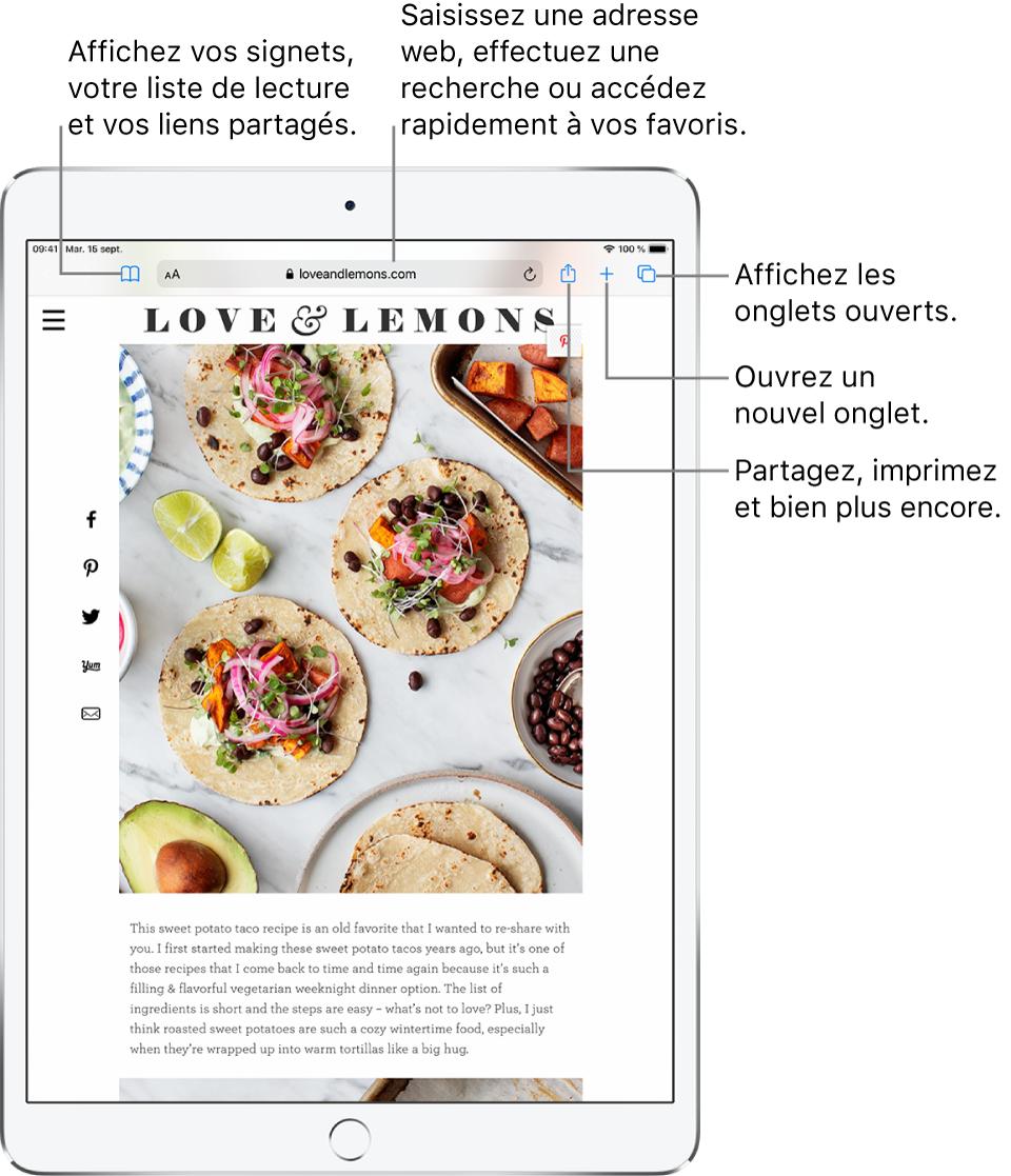 Un pageweb s'ouvre dans Safari et les commandes suivantes s'affichent en haut, de gauche droite: Les boutons Précédent, Suivant et Signets, le champ d'adresse, ainsi que les boutons Partager, Nouvel onglet et Pages.
