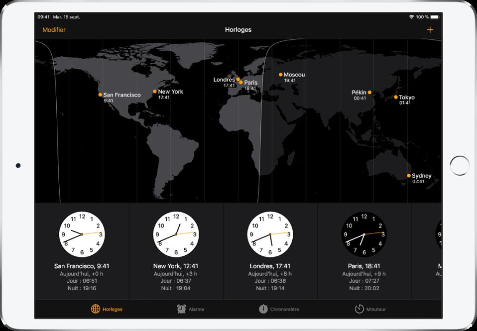 L'onglet Horloges, affichant l'heure dans différentes villes. Touchez Modifier en haut à gauche pour gérer votre liste de villes. Touchez le bouton Ajouter en haut à droite pour en ajouter d'autres. Les boutons Horloges, Alarme, Chronomètre et Minuteur se trouvent en bas de l'écran.