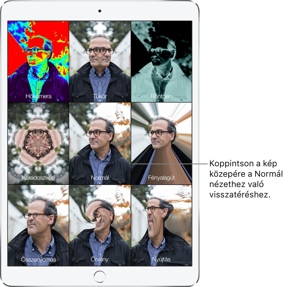 A Photo Booth képernyője, amelyen egy férfi arca látható kilenc különböző nézetből, mindegyik mozaikon egy-egy eltérő effektussal. A felső sorban (balról jobbra haladva) a következő effektek láthatók: Hőkamera, Tükör és Röntgen. A középső sorban (balról jobbra haladva) a következő effektek jelennek meg: Kaleidoszkóp, Normál és Fényalagút. Az alsó sor (balról jobbra haladva) a következő effekteket jeleníti meg: Összenyomás, Örvény és Nyújtás.