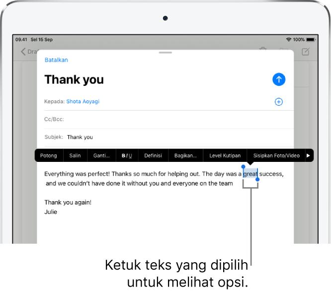 Sampel pesan email dengan beberapa teks yang dipilih. Di atas pilihan terdapat tombol Potong, Salin, Tempel, dan Ganti. Teks yang dipilih disorot dengan pengendali di kedua ujungnya.