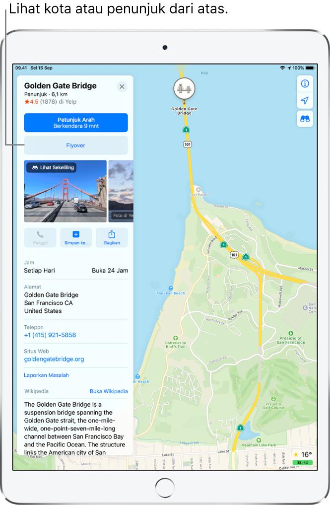 Peta San Francisco. Di sisi kiri layar, kartu informasi untuk Golden Gate Bridge menampilkan tombol Flyover di bawah tombol Petunjuk Arah.