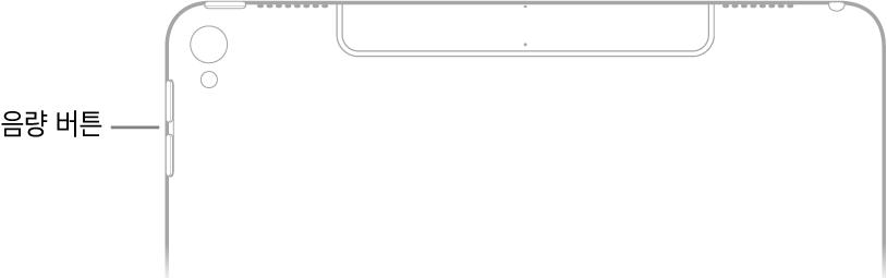 음량 버튼을 가리키는 설명이 있는 iPad 후면 상단 부분.