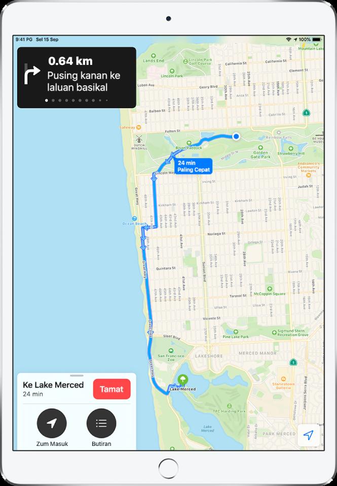 Peta keseluruhan menunjukkan arah berbasikal antara dua taman di San Francisco.