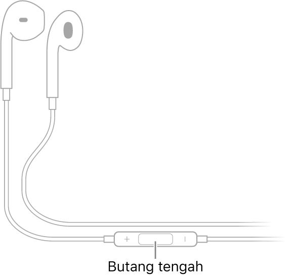 Apple EarPods, butang tengah terletak pada wayar yang menghala ke fon telinga untuk telinga kanan.