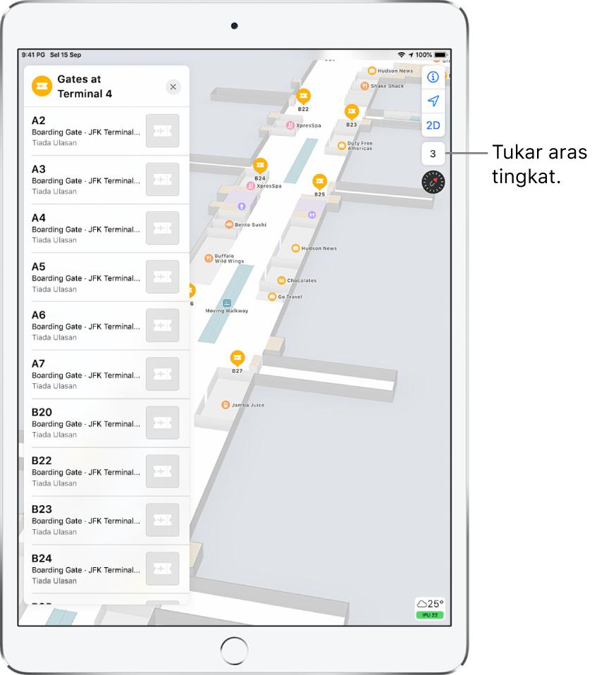 Peta dalaman terminal lapangan terbang. Peta menunjukkan perniagaan dan pintu naik. Di sebelah kiri skrin, kad mengenal pasti pintu naik di Terminal 4.