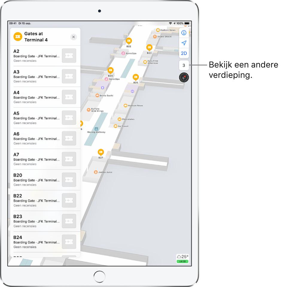 Een plattegrond van een luchthaventerminal. Op de kaart worden bedrijven en boarding gates aangegeven. Aan de linkerkant van het scherm worden gates in terminal4 aangegeven met een kaart.