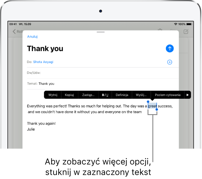 Przykładowa wiadomość email zzaznaczonym fragmentem tekstu. Powyżej zaznaczenia znajdują się przyciski wycinania, kopiowania, wklejania izastępowania. Zaznaczony tekst jest wyróżniony. Po obu jego stronach znajdują się uchwyty.