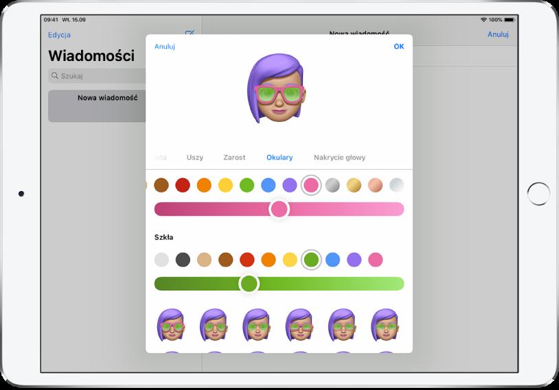 Ekran tworzenia Memoji waplikacji Wiadomości, dający możliwość wyboru okularów.