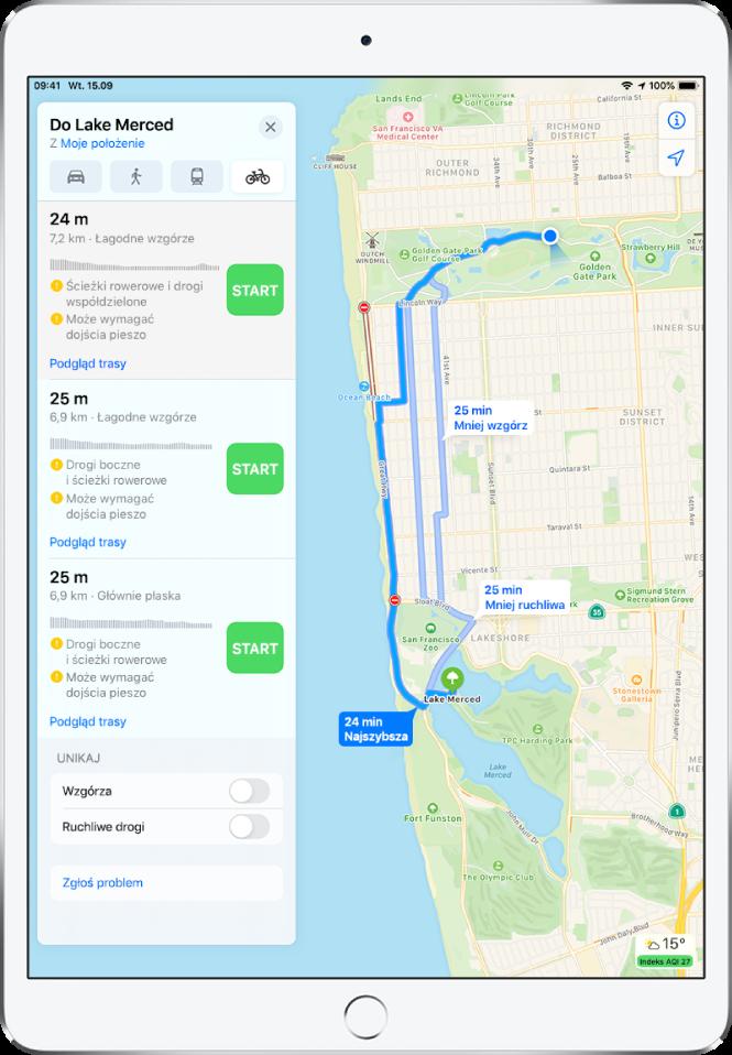 Mapa przedstawiająca różne trasy rowerowe. Widoczna po lewej karta trasy zawiera szczegóły trasy, obejmujące szacowany czas, zmianę wysokości oraz typy dróg. Obok każdej trasy na karcie widoczny jest przycisk Start.