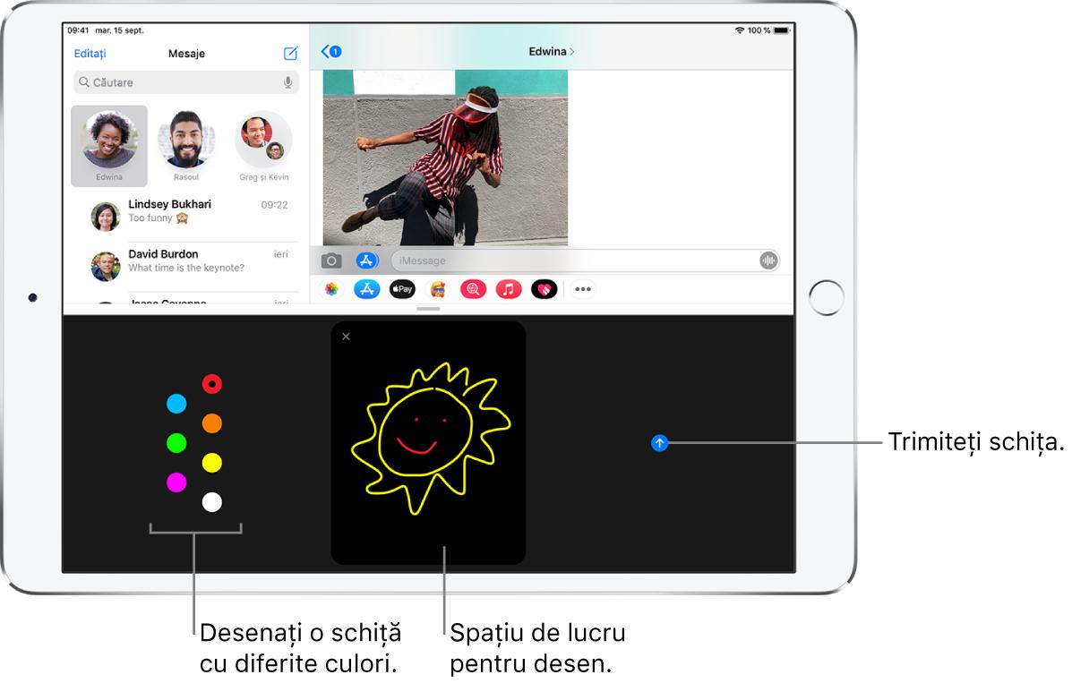Un ecran Mesaje cu ecranul Digital Touch în partea de jos. Opțiunile de culori se află în stânga, spațiul de lucru pentru desen se află în centru, iar butonul Trimiteți este în dreapta.