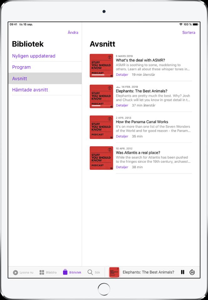 Fliken Bibliotek med nyligen uppdaterade podcaster.