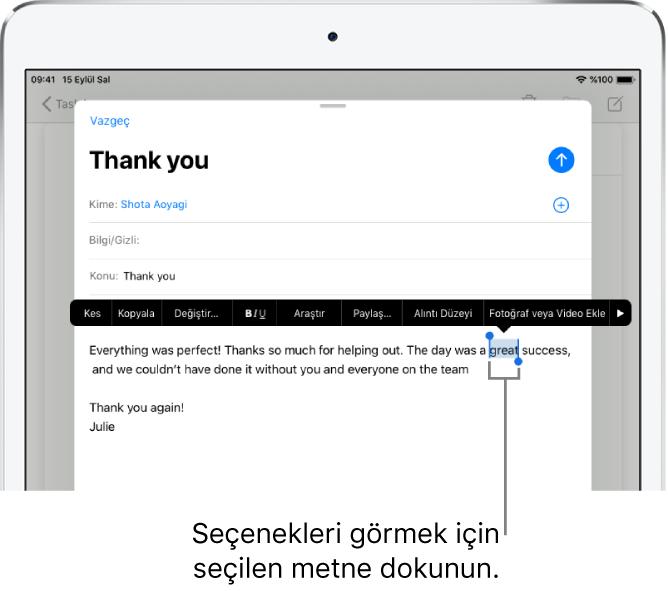 Bazı metinler seçili olarak örnek e-posta iletisi. Seçimin üst tarafında Kes, Kopyala, Yapıştır ve Değiştir düğmeleri bulunuyor. Seçilen metin vurgulanıyor; her iki ucunda da tutamaklar var.