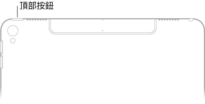 以背面觀看 iPad 的上半部時,帶有說明文字指向左上角的上緣的頂端按鈕。