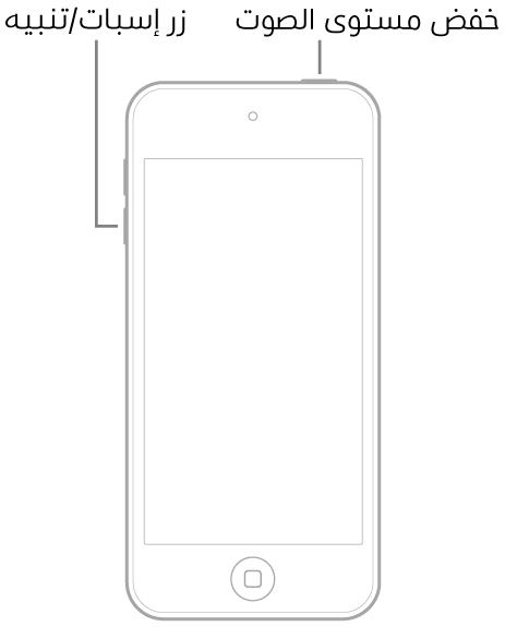 رسم توضيحي للـiPodtouch والشاشة متجهة لأعلى. يظهر زر إسبات/تنبيه في الجزء العلوي من الجهاز، ويظهر زر خفض مستوى الصوت على الجانب الأيسر من الجهاز.
