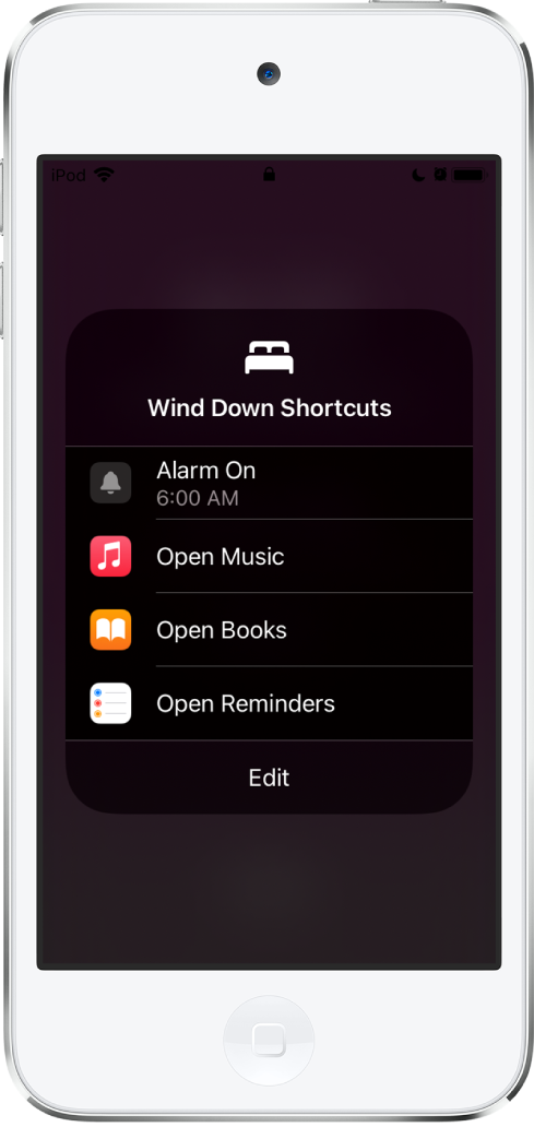 Obrazovka Zkratky pro noční klid se zkratkami, které otvírají aplikace Hudba, Knihy aPřipomínky