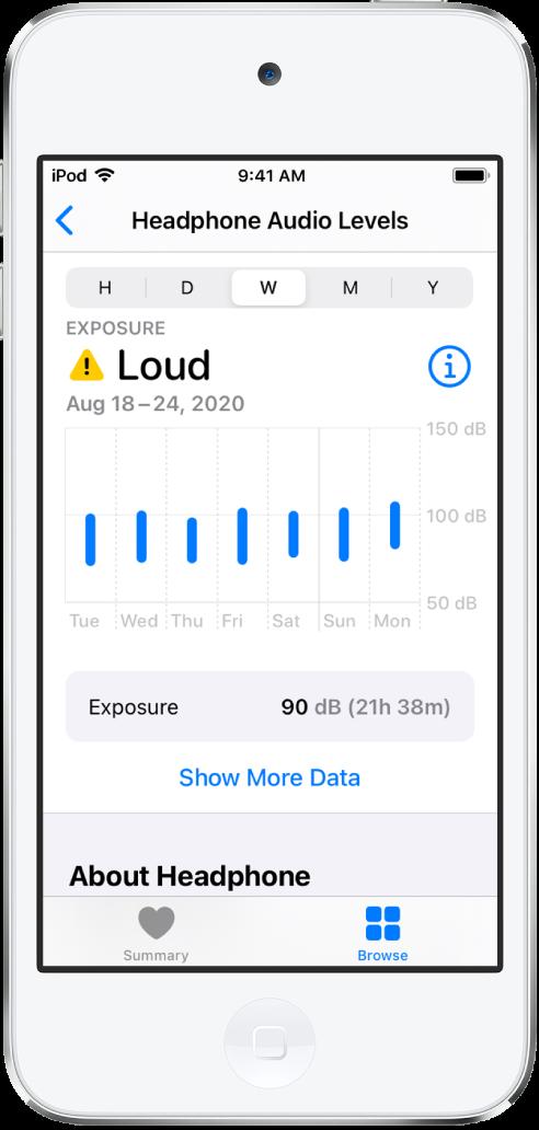 """Der Bildschirm """"Kopfhörer-Geräuschpegel"""" mit den täglichen Geräuschpegeln für eine Woche."""