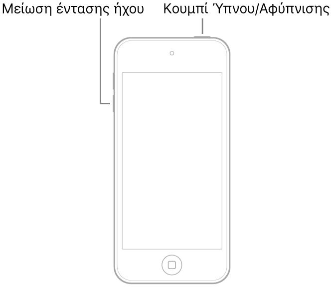 Εικόνα του iPodtouch με την οθόνη στραμμένη προς τα πάνω. Το κουμπί Ύπνου/Αφύπνισης εμφανίζεται στο πάνω μέρος της συσκευής και το κουμπί μείωσης της έντασης ήχου βρίσκεται στην αριστερή πλευρά της συσκευής.