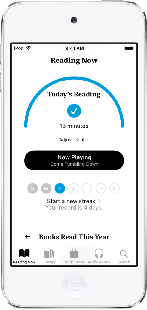 The Reading Goals section in Reading Now. The reading counter shows that 6 minutes of a 10-minute goal have been completed. Below the counter is a Keep Reading button, and circles that show the days of the week, Sunday through Saturday. The circle for Tuesday contains a blue outline that shows the progress for that day.