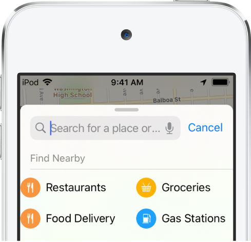 Categories for four nearby services appear below the search field. The categories are Restaurants, Groceries, Food Delivery, and Gas Stations.