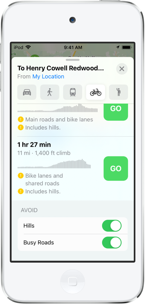 A list of cycling routes. A Go button appears for each route along with information about the route, including its estimated time, elevation changes, and types of roads.