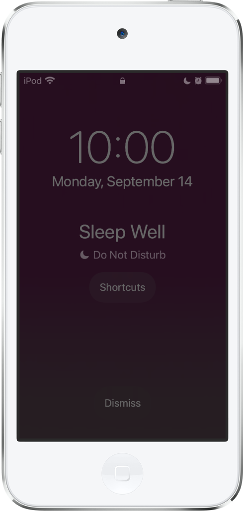 "The iPod touch screen showing ""Sleep Well"" and ""Do Not Disturb is on"" in the center. Below that is the Shortcuts button. At the bottom of the screen is the Dismiss button."