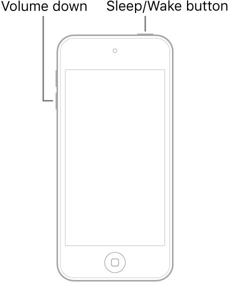 An illustration of iPod touch with the screen facing up. The Sleep/Wake button is shown on the top of the device, and the volume down button is shown on the left side of the device.