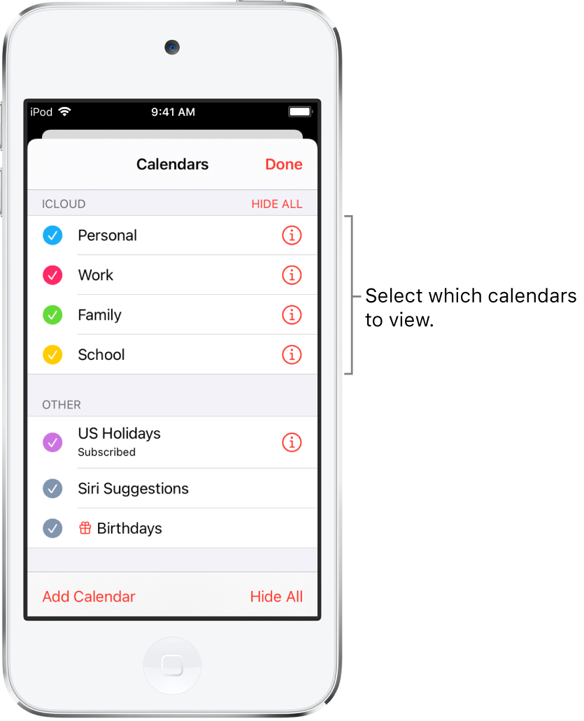 The calendars list with checkmarks indicating which calendars are active. The Done button for closing the list is in the top-right corner.