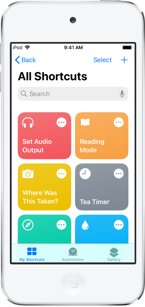 The My Shortcuts tab. At the top is a search field. Below that are shortcuts to complete common everyday tasks such as locating a nearby gas station and logging your travel. At the bottom are the Automation and Gallery tabs.