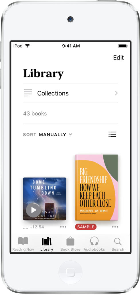 The Library screen in the Books app. At the top of the screen is the Collections button and sorting options. The sort option Manually is selected. In the middle of the screen are covers of books in the library. At the bottom of the screen are, from left to right, the Reading Now, Library, Book Store, Audiobooks, and Search tabs.