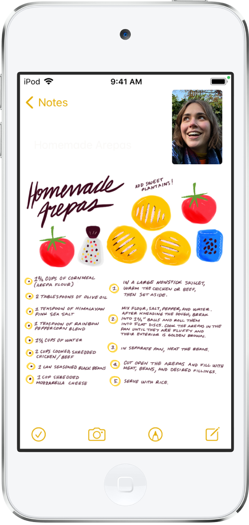 A screen that shows having a FaceTime conversation while viewing a recipe in the Notes app, which fills the rest of the screen.