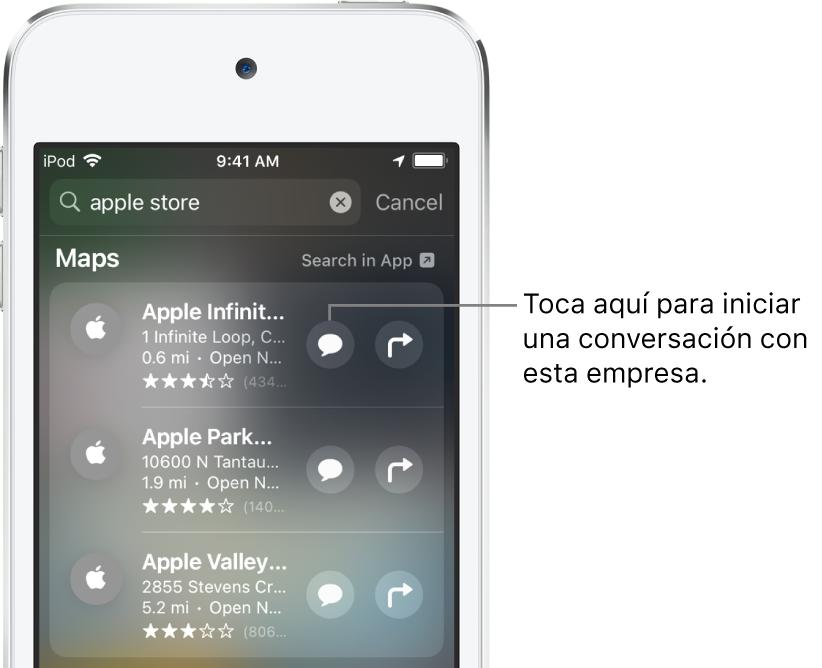 La pantalla Buscar mostrando elementos encontrados para Mapas. Cada elemento muestra una breve descripción, una calificación o dirección, y cada sitio web muestra una URL. El segundo elemento muestra un botón que se puede tocar para iniciar un chat con Apple Store.