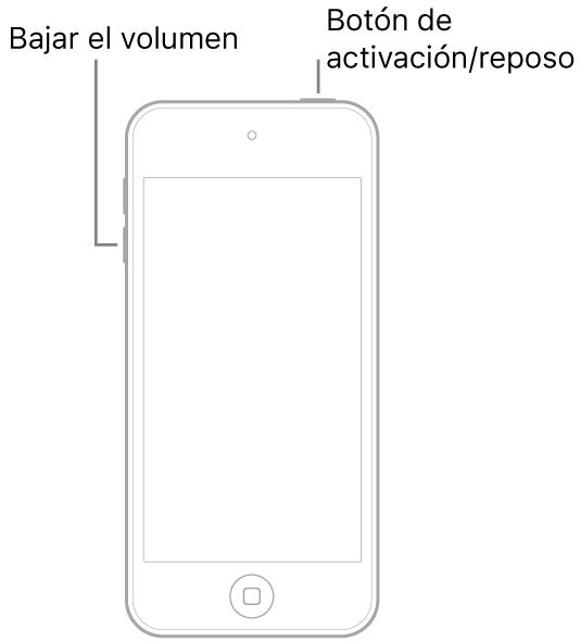 Una ilustración de un iPod touch con la pantalla hacia arriba. El botón de activación/reposo se encuentra en la parte superior del dispositivo, y el botón para bajar el volumen está en el lado izquierdo.