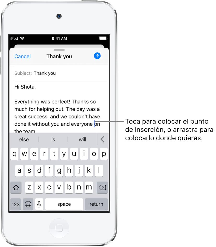 El borrador de un correo mostrando el punto de inserción donde se insertará el texto.