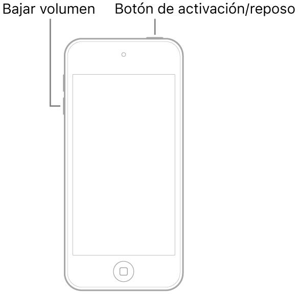 Ilustración de un iPodtouch con la pantalla hacia arriba. En la parte superior del dispositivo está el botón de activación/reposo y el botón de bajar volumen se encuentra en el lado izquierdo del dispositivo.