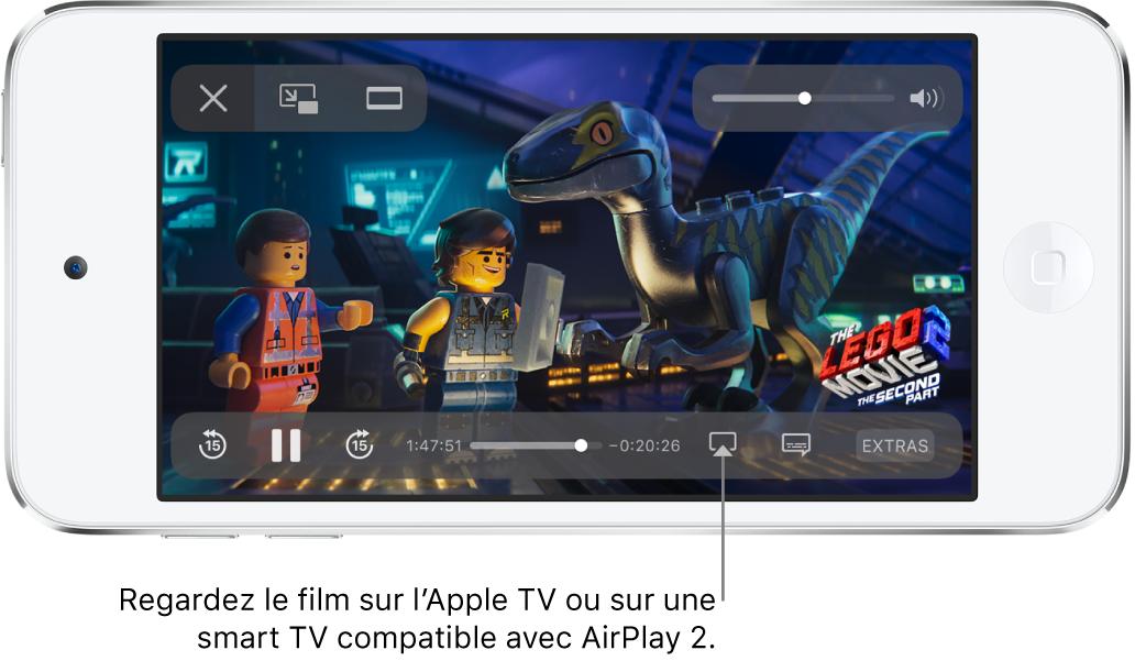 Un film en cours de lecture sur l'écran de l'iPodtouch. En bas de l'écran se trouvent les commandes de lecture, notamment le bouton «Recopie de l'écran» en bas à droite.