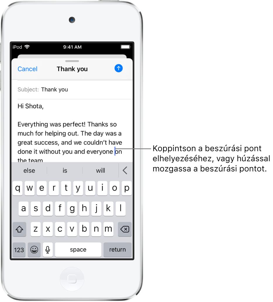 Egy vázlatos e-mail-üzenet, amelyben a beszúrási pont azon a részen van elhelyezve, ahová szöveg lesz beszúrva.