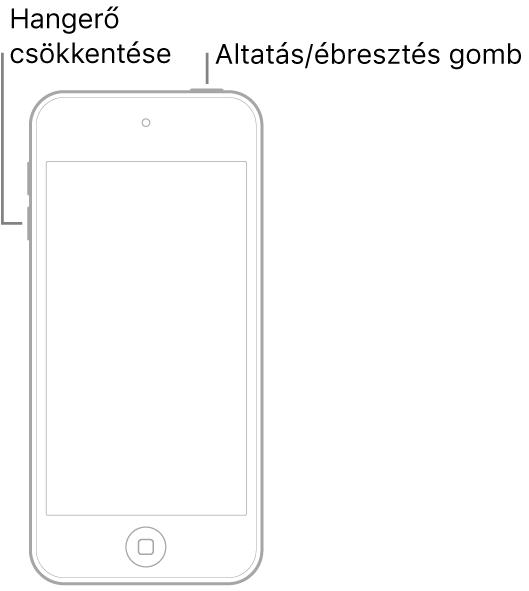 Egy iPod touch, amelynek képernyője felfelé néz. Az eszköz tetején az Altatás/Ébresztés gomb látható, az eszköz bal oldalán pedig a hangerőcsökkentő gomb.
